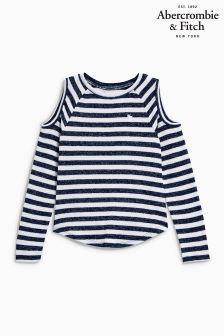 Abercrombie & Fitch Navy Stripe Cold Shoulder Top