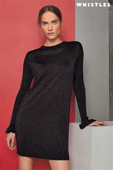 Whistles Black Sparkle Long Sleeve Knit Dress