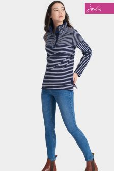 Joules Navy Stripe Funnel Neck Cowdray Sweatshirt