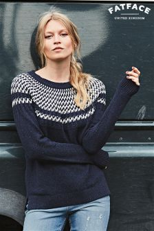 Fat Face Navy Lara Pattern Jumper