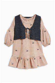 Embroidered Rabbit Dress And Knitted Gilet Set (3mths-6yrs)