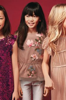 Floral Embellished Mesh Blouse (3-16yrs)