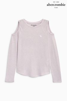 Abercrombie & Fitch Pink Cold Shoulder Top