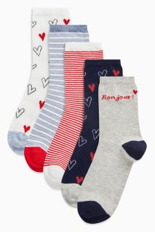 Heart And Stripe Ankle Socks Five Pack