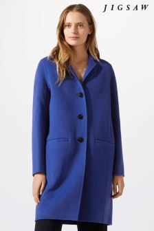 Jigsaw Blue Double Faced Oval Coat