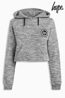 Hype Grey Space Dye Crop Hoody