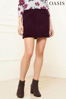 Oasis Burgundy Cord Skirt