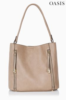 Oasis Natural Hettie Two Zip Hobo
