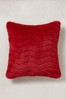 Red Faux Fur Cushion