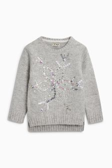 Girls Snowflake Sparkle Sweater (3-16yrs)