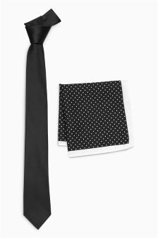 Tie And Polkadot Pocket Square Set