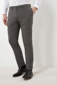 Textured Check Skinny Fit Trousers