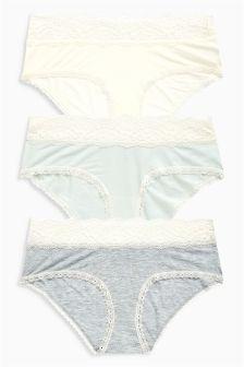 Lace Trim Modal Shorts Three Pack