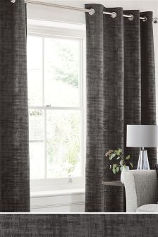 Distress Soft Velour Eyelet Curtains