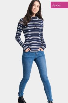 Joules Navy Stripe Hooded Marlston Sweatshirt