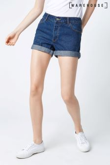 Warehouse Mid Wash Turn Up Denim Short