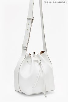 French Connection White Chelsea Bucket Bag