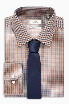Gingham Regular Fit Shirt And Tie Set