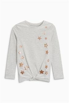 Glitter Star Knot Front Long Sleeve Top (3-16yrs)
