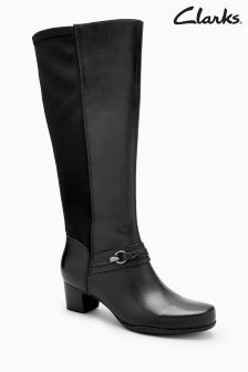 Clarks Black Rosalyn Clara Stretch Back Long Boot