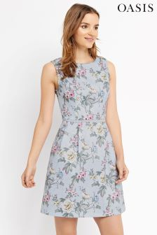 Oasis Pale Blue Chintz Rose Skater Dress