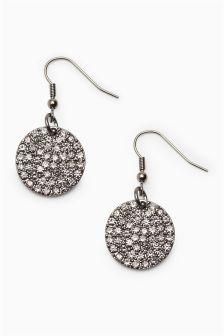 Crystal Disc Drop Earrings