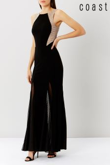 Coast Black Bia Sequin Jersey Prom Maxi Dress