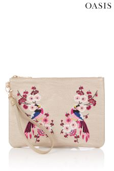Oasis Cream Embroidered Clutch