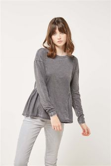 Washed Long Sleeved Peplum Top