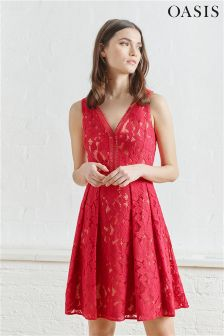 Oasis Red Lace Skater Dress