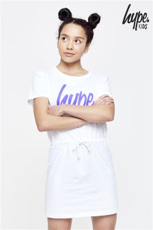 Hype White Drawstring Tee Dress