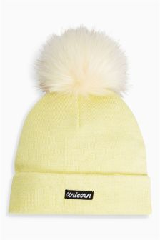 Faux Fur Sparkle Pom Beanie (Older Girls)