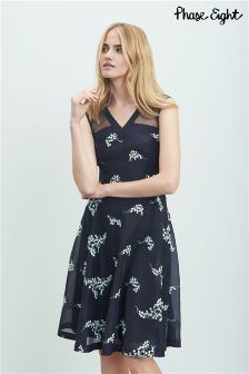 Phase Eight Navy/Ivory Connie Embroidered Dress