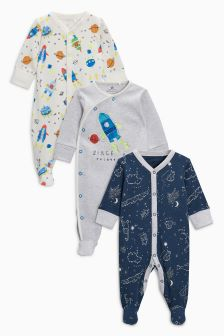 Space Rocket Sleepsuits Three Pack (0mths-2yrs)