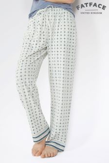 Fat Face White Daisy Geo Jersey Pant