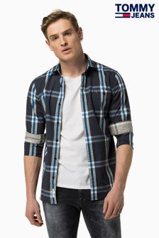 Tommy Jeans Blue Basic Stretch Check Shirt