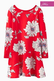 Joules Red Peony Trapeze Dress