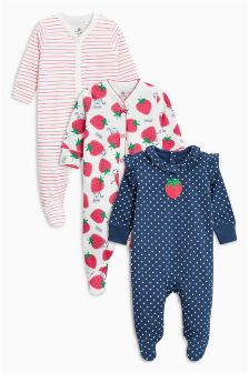 Strawberry Sleepsuits Three Pack (0mths-2yrs)