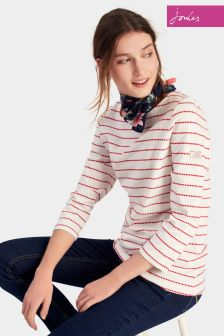 Joules Red Cream Spot Jersey Top