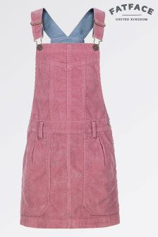 Fat Face Washed Rose Cord Dungaree Dress