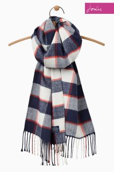 Joules Navy French Check Soft Handle Bracken Scarf