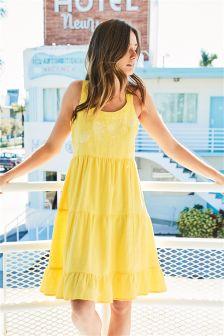 Embroidered Linen Blend Sun Dress