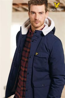 Lyle & Scott Navy Shearling Coat