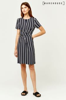 Warehouse Navy Twist Front Stripe Dress
