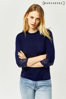Warehouse Navy Lace Cuff 3/4 Sleeve Jumper