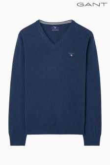 Gant Blue Super Fine Lambswool V Neck Jumper