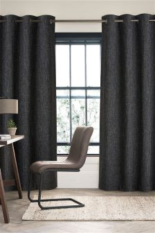 Black Textured Basket Weave Eyelet Curtains