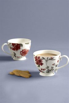 Set Of 2 Footed Floral Mugs