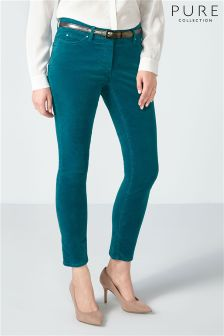 Pure Collection Blue Washed Velvet Cropped Jean