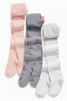 Floral, Pink And Grey Tights Three Pack (3-12yrs)